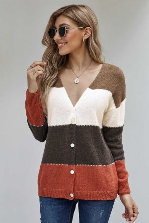 Brown V Neck Buttoned Closure Colorblock Sweater Cardigan